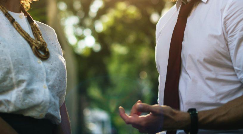 two people talking during coaching boundaries